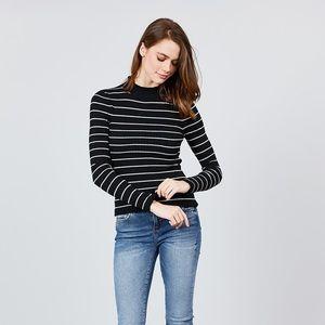 Sweaters - ong Sleeve Mock Neck Stripe Rib Sweater Top